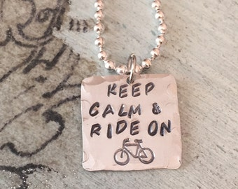 Hand Stamped Keep Calm and Ride On Necklace. Bike Necklace  Personalized bike necklace. Handmade.  Gift for her.