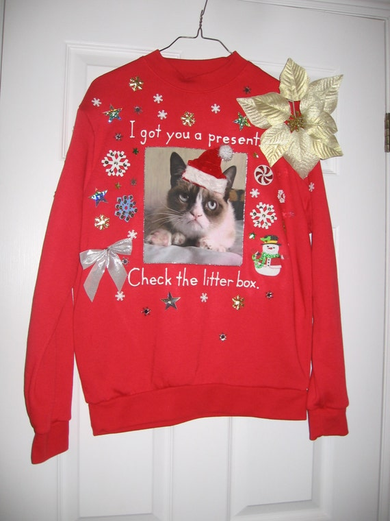 Items similar to Grumpy Cat Ugly Christmas Sweater Sweatshirt New ...