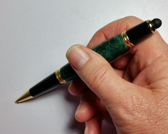 Buckeye Burl Dark Green Pen with Stylus