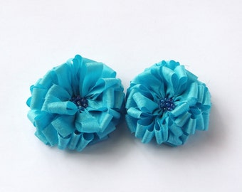 Light Blue Fabric Flowers Embellishment