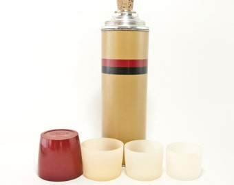 Vintage Thermos, Vintage B340A Thermos with 3 cups, Vintage Vacuum Bottle