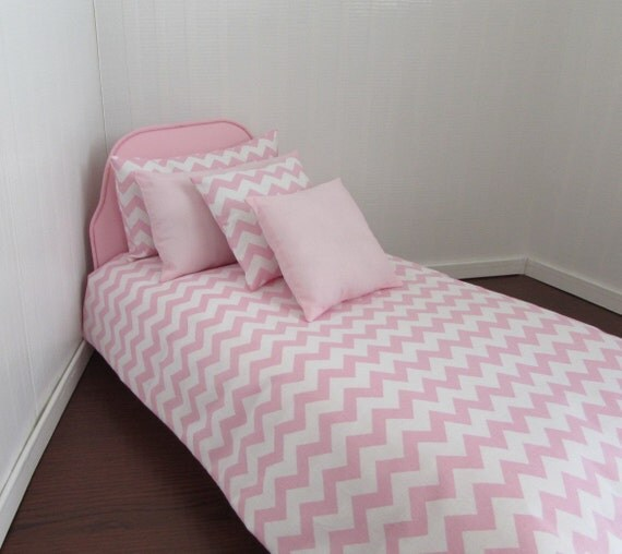Doll Bedding For 18 Inch Doll Bed Pillows Pink Chevron