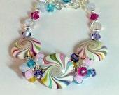 Pink, white, aqua and purple swarovki crystal cluster bracelet, opalite multi color polymer bracelet, boho glam bracelet, lavender and white
