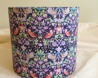 Handmade 20 cm Drum lampshade in blue purple flowered bird fabric