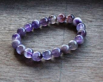 Amethyst 10 mm Round Stretchy String Bracelet B88