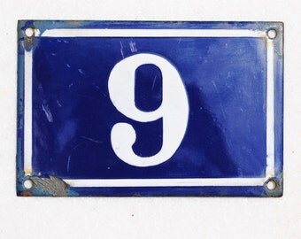 Vintage French enamel cobalt blue and white house number plaque - number 6 or 9
