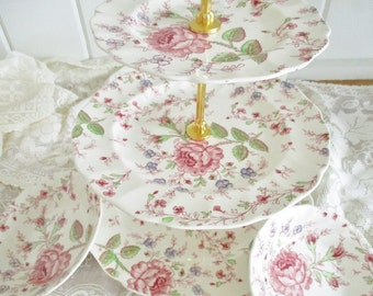Upcycled vintage 3 tier Rose Chintz tea stand set by Johnson Bros, English Garden Tea Shop tea stand, excellent condition