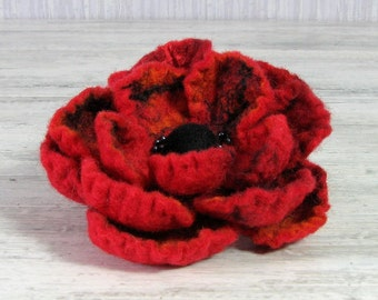 Felt Brooch - Poppy Felted Flower - Hand Felted Brooch - Gift for her Red Flower Brooch - Wool Flowers Felted Brooch