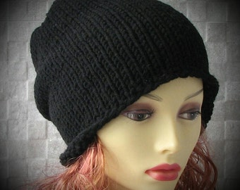 Black Mens knit hat, oversized baggy beanie. Perfect winter accessories for men.