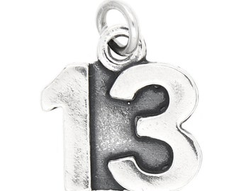 Sterling Silver Number 13 Charm