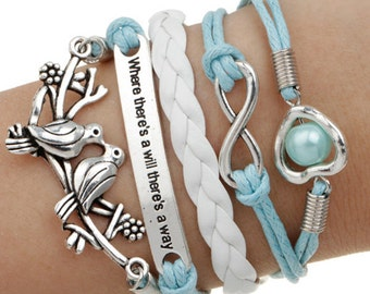 Multi Row White and Blue Leatherette Wrap Bracelet Love Infinity Love Birds Doves Pearl Knot Braided Chord Silver Plated Charms