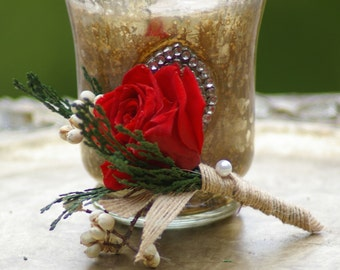 Red Preserved Real Rose Boutonniere Christmas Winter