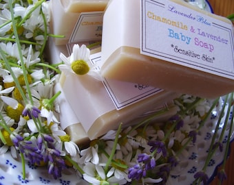 Gentle Olive Oil and Buttermilk Baby Soap - Lavender and Chamomile -  Handmade in BC, Canada