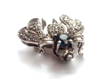 Vintage Diamond and Sapphire Mini Bumble Bee Brooch