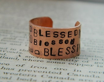 Inspirational ring Blessed ring All over Printing adjustable ring handstamped jewelry