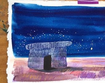 Desert painting starry night mixed media original art