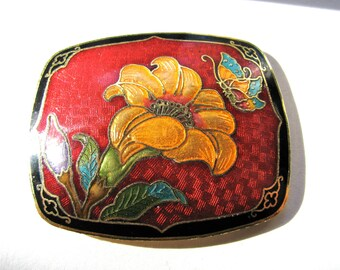 """Cloisonne belt buckle, 2"""" by 1 and 3/4"""""""