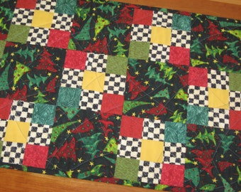 Quilted Table Runner, Floating Christmas Trees on Black, Reversible