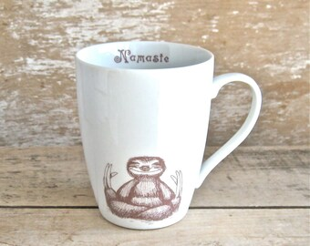 Mug, Namaste Baby Sloth, Coffee or Tea cup Sloth Meditation 14 oz Teacup Style Tea Cup, Yoga Asana, Lotus Position, Ready to Ship