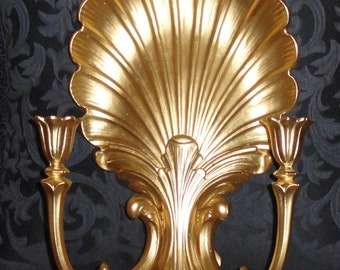Vintage SYROCO 4224 Homco Scalloped Gold Shell Candle Wall Sconce Wall Hanging Home Decor