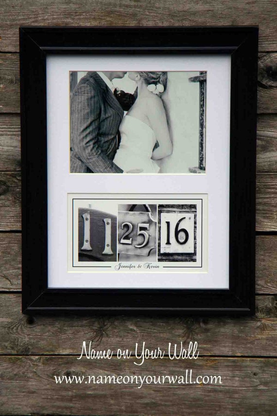 Wedding/Anniversary Date Art - Matted and Framed in Black and White Number Photos