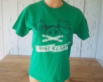 "Vintage Humorous T-Shirt, ""Fixed My Sister"", Youth Size Medium, Al Style Apparel & Active Wear, 100% Cotton, Back To School, Mid 90's"