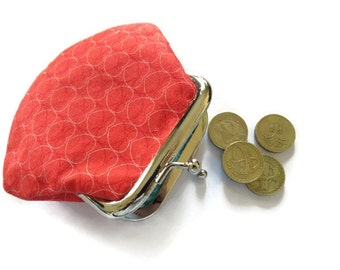 Small Red Heart Coin Purse - Framed Change Purse - Red Fabric Change Wallet