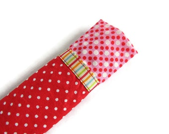 Red Protective Sleeve For Emery Board - Nail File Case - Emery Board Cover - Ribbon Detail