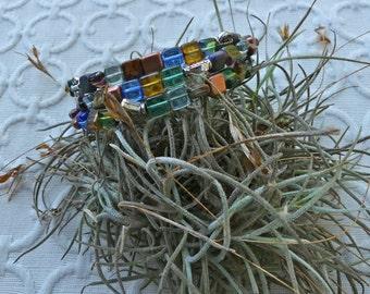Multi-Colored Square Czech Bead Triple Wrap Memory Wire Bracelet