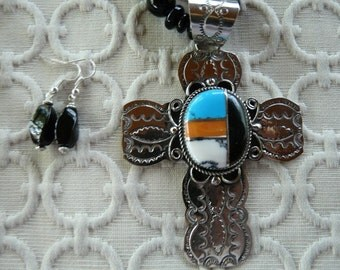 REDUCED!  Vintage 27 Inch Zuni Cross Necklace with Inlaid Stones with Earrings