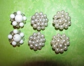 Lot of Vintage White Clip On Cluster Earrings