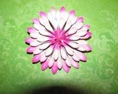 Vintage Two Shades Of Pink Enamel Flower Brooch Pin