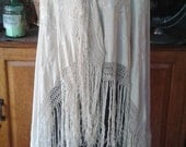 Antique early 1900s Fabulous Hand-Embroidered Ivory Silk Piano Shawl