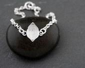 Flash Sale - RAW HERKIMER DIAMOND Silver, Small, Simple Rollo Chain Bracelet