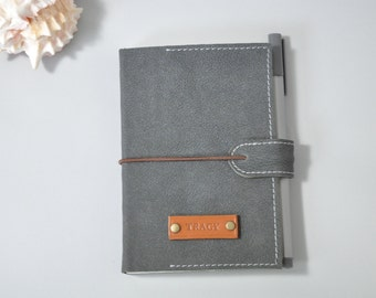 Personalized Leather Journal notebook - Gray black, personalized diary, travel journal, leather sketchbook, refillable journal, leather book