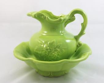 Vintage McCoy Pottery Lime Green Pitcher and Bowl Set