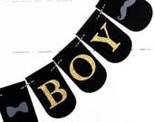 Its A Boy Banner - Baby Boy Shower Decorations - Bowtie Banner - Mustache Banner