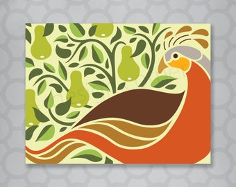 Illustrated partridge in a pear tree Christmas Card