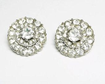 Bogoff Rhinestone Earrings, Clip Ons, Vintage Jewelry, SUMMER SALE