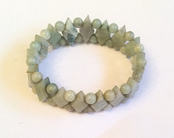 Jade Stretch Bracelet, Vintage Jewelry, WINTER SALE