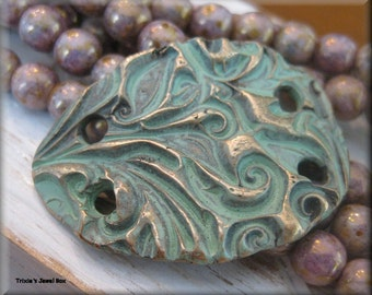 Handmade Solid Bronze Large Rustic Bracelet Component - Verdigris Patina!