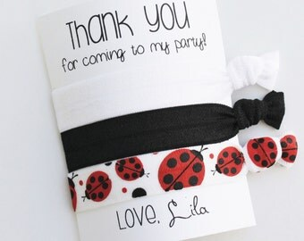 Thank You for coming to my party! Elastic Hair Ties / Limited Edition / Birthday Party Favor / 3-ct / Wristlet Tie / Ladybug / Black / White