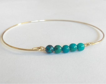 Natural chrysocolla beads bangle - Gold bangle - Gemstone bracelet - Feather bracelet - Yoga bangle bracelet - Yoga jewelry - Throat Chakra