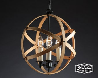 Modern Hoop Lamp, Wood Light, Hanging Pendant, Upcycled, Repurposed, Round, Wooden Sphere, Classic Lighting, Chandelier, Home Decor