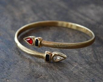 Vintage SAL Bracelet Bypass Wrap Coil Cuff Red Clear Swarovski Crystals Black Enamel Gold Tone 1980's // Vintage Designer Costume Jewelry