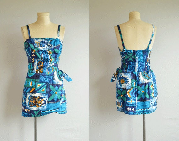 1950s Hawaiian Swimsuit 50s Paradise Hawaii Tropical Floral