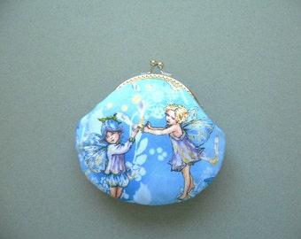 SHOP CLOSING SALE  Fairies in Sky Medium Clutch Purse – Metal frame clutch purse – blue green yellow gold – Birthday Gift, Handmade Gift