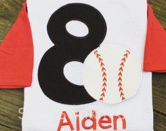 Personalized Appliqued/Embroidered Baseball Birthday Shirt