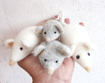 Felted Mouse - Natural toy for cat, kids or collectors - made to order