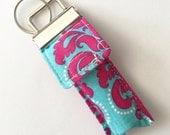 Keychain Chapstick Holder in Hot Pink Damask